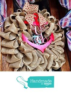 Burlap Anchor Monogram Wreath ~ Coastal Decor ~ Beach House Wreath ~ Polkadot Burlap from Front Door Showcase http://www.amazon.com/dp/B016C47A6O/ref=hnd_sw_r_pi_dp_qpB8wb1NZE0FN #handmadeatamazon