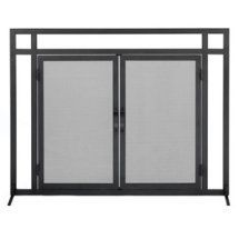 Buy the Woodfield 61235 Black Direct. Shop for the Woodfield 61235 Black Wide x High Mission Style Black Wrought Iron Fireplace Screen with Doors and save. Fireplace Screens With Doors, Wrought Iron Fireplace Screen, Decorative Fireplace Screens, Fireplace Doors, Black Fireplace, Fireplace Hearth, Fireplaces, Modern Fireplace, The Door Is Open
