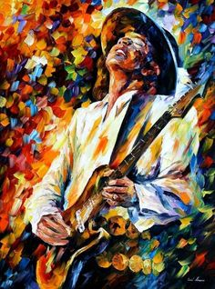 Stevie Ray Vaughan 2 — Oil Painting On Canvas By Leonid Afremov #Impressionism