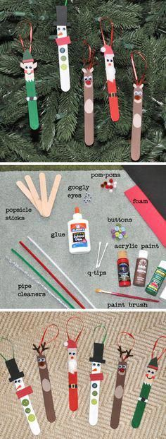 Easy Chistmas Crafts for Kids to Make - DIY Christmas Tree ornaments - great teacher gift idea too., DIY Christmas Crafts for Kids - Easy Craft Projects for Christmas 2019 Easy Chistmas Crafts for Kids to Make - DIY Christmas Tree ornaments - great te. Kids Crafts, Christmas Crafts For Kids To Make, Craft Stick Crafts, Craft Projects, Christmas Tree Decorations For Kids, Kids Diy, Lolly Stick Craft, Christmas Activities For Kids, Easy Projects