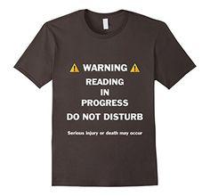 Men's Warning, Reading in Progress Book Shirts 2XL Asphal...