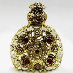 Handmade, Mouth Blown Czech Bohemian Glass.  Historical replica of centuries old perfume bottle.