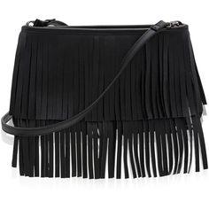 White House Black Market Leather Fringed Clutch (365 BRL) ❤ liked on Polyvore featuring bags, handbags, clutches, black leather handbags, real leather handbags, leather handbags, black handbags and genuine leather purse