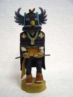 Native American Hopi Carved Crow Man Warrior Katsina Doll
