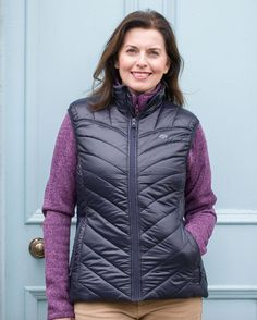 Ladies Lightweight Quilted Gilet £45.00  Ladies Soft Padded Gilet is very comfortable lightweight synthetic gilet that is fashionable and very versatile. Designed with a stand up collar, a high quality centre front zip and a chin guard for protection. The Gilet is semi-fitted, has a contrasting gold lining with two zipped side pockets and an internal media pocket with velcro fastening. Shooting Clothing, Cool Countries, Country Outfits, Centre, Winter Jackets, Pockets, Zip, Female