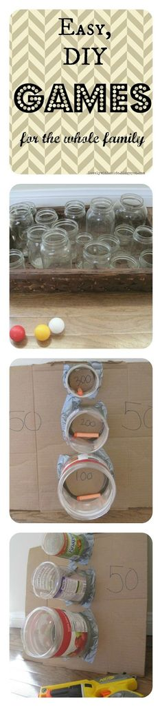 Family Game Night; Easy DIY Carnival Games. Good idea for turkey trot, but clean and paint to look nice.