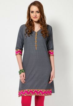 Embroidered Cotton Grey Kurti