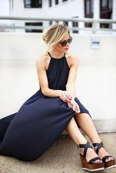 navy maxi dress with wedges for summer