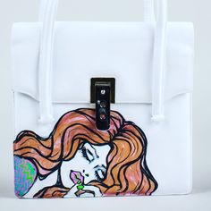 New Comic Inspired Frisky Bandit Bag #handpainted #cartoonstyle #etsyshop #handbag #vintage #woman #comic #comicart #purse #vintag #vintagebag #etsy #etsyseller #shop #white #painting #sexylady #lady #redhead #shopthelook