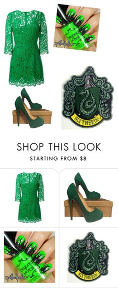 """""""Slytherin"""" by rachel-malfoy ❤ liked on Polyvore featuring Dolce&Gabbana and Christian Louboutin"""