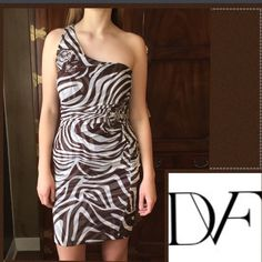 🎉Diane von Furstenberg Lavande Zebra Print Dress DVF Diane von Furstenberg Lavande Zebra Print Dress. Good condition.  100% silk. A couple of small snags on front but not really noticeable when you have the dress on. See photos. I took the snags into consideration when pricing. Diane von Furstenberg Dresses One Shoulder