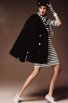 knit dress paired with Joseph scarf and Benetton gloves. The cashmere peacoat is from Tommy Hilfiger.