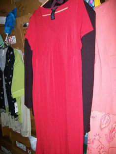 "size XL 16/18 GEORGE stretch red s/s DRESS w/ flare at hem ""STUNNING """