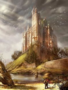 Fantasy castle and surrounding life