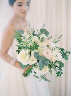 Peony, ranunculus and greenery wedding bouquet: Photography : Kurt Boomer Read More on SMP: http://www.stylemepretty.com/little-black-book-blog/2017/01/16/romantic-malibu-wedding-on-a-hilltop/