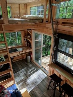 It is not impossible if you live in a tiny house with your family. Today, a tiny house interior is really impressive. You can still live in a small house even space seems not enough for you. A tiny ho Tiny House Loft, Tiny House Living, Tiny Loft, Bus Living, Tiny Tiny, Small Loft, Tree House Designs, Tiny House Design, Home Design