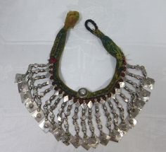 Afghan Kuchi Neclace ~ Early ~ Purchased in Afghanistan ~ German Silver Metal Work ~ Original Fabric Neckband by HeySardine on Etsy Nickel Silver, Silver Metal, Tribal Jewelry, Collar Necklace, Afghanistan, Metal Working, 1970s, Ethnic, My Etsy Shop