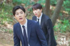 What did Yoon Hyun-min and Seo Ji-hoon run into at the Gyeryong Mountain? Jeong Yi-hyeon (Yoon Hyun-min) and Kim Geum (Seo Ji-hoon) face a new world that they have never seen before in the upcoming tvN drama 'Mama Fairy and the Woodcutter'. Asian Actors, Korean Actors, Korean Entertainment News, Moon Chae Won, Woo Young, Black Suits, Drama Series, Music Tv