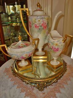 Spectacular Antique Belleek Porcelain Tea Set - Coffee Set~Creamer~Sugar~ Hand Painted ~Roses~Artist Signed~Circa~ 1900~