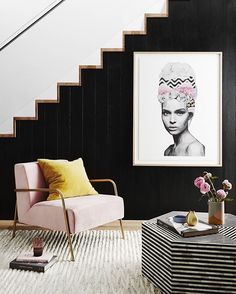 We've seen blush hanging around for quite a while, but I've not really seen it teamed with mustard. I do like this mix with the monochrome background.  #mustard #blush #colourpalette #monochrome Image styled by NC Interiors (for Greenhouse Interiors) and photographed by Annette O'Brien via @adoremagazine
