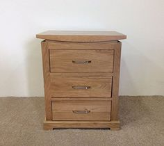 Matlock Solid Oak Bedside Cabinet with 3 Drawers - Natural Clear Lacquer - Matlock Oak Collection
