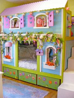 l shaped loft bed plans - So cute for a little girl's room. I can just imagine the play time creations she would come up with.
