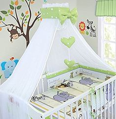 LUXURY 10Pcs BABY BEDDING SET COT BED PILLOW DUVET COVER BUMPER CANOPY to Fit Cot Bed Size 140x70cm 100% COTTON (Safari Green)