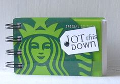 STARBUCKS Upcycled Gift Card Spiral Notebook