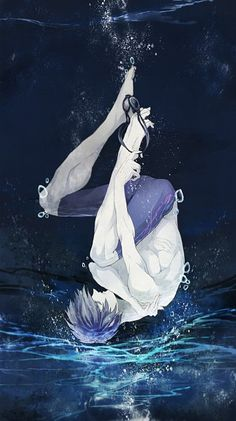 Tags: Underwater, Upside Down, Hand On Arm, Pixiv Id 340422, Goggles Off, Nanase Haruka (Free!)