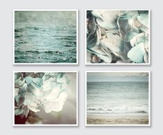 BATHROOM PRINT SET This listing features a curated set of four soft aqua prints perfect for the bathroom. Display these four prints as a wall gallery, on separate walls, stacked - any way you choose! Their soft pastel blue colors tie your cottage bathroom decor together perfectly. $ Price reflects a 20% discount off photographs and 10% off canvas. ☞ Select PHOTOGRAPHS or CANVASES + Size from drop-down list. ✕ Framing not included. ✓ Find wood plank art here: http://etsy.me/1T9QRwX ◎ Colors…