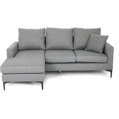 Small L-shape Sofa - Mobler Furniture, Richmond: Vancouver BC ❤ liked on Polyvore featuring home, furniture, sofas, light grey sofa, upholstery furniture, light gray couch, fabric couches and light gray sofa