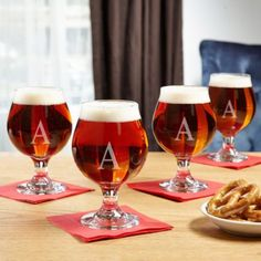 Classic Personalized Beer Snifter, Set of 4