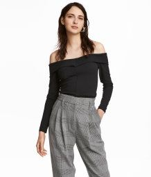 Crêped Off-the-shoulder Top | Black | SALE | H&M US