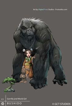 conceptual art for a tabletop RPG called 'Bushido', set to be released in June. i'm happy i got the chance to draw a giant gorilla. in the original sketch the gorilla was much more mean looking. bu...