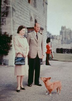 Her Majesty The Queen, Prince Philip, and their corgi 'Sugar' at Windsor Castle, 6 June 1959