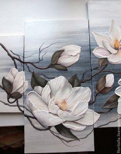 """Купить Объемная фреска """"Магнолии"""" - темно-серый, картина для интерьера…"""