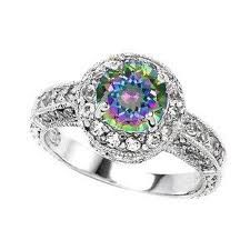 great engagement ring mystic topaz, perfect to inspire a peacock wedding theme