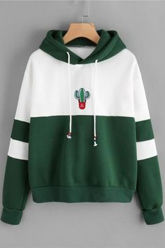 Discount This Month ROMWE Drawstring Color Block Cactus Embroidered Hoodie 2018 Spring Autumn Long Sleeve Ladies Casual Sporty Pullovers Sweatshirt Hoodie Sweatshirts, Printed Sweatshirts, Fleece Hoodie, Sweat Shirt, Hoody Kpop, Tracksuit Tops, Vetement Fashion, Mode Streetwear, Cactus Print