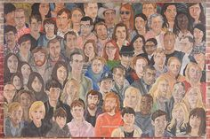 Emily Grenader's Crowd Painting (Friends + Family), 2010. Oil on canvas, 6 x 9 feet.