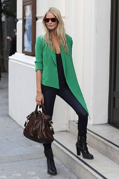 London Fashion Week Street Style: Another snap-worthy moment from Poppy Delevigne — this time in kelly green.