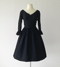 Vintage 1950s Party Dress...Midnight Black Eyelet Party by deomas