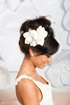 love the updo and the flower