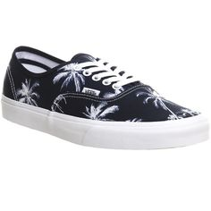 Vans Authentic ($75) ❤ liked on Polyvore featuring shoes, sneakers, vans, trainers, palm print navy, unisex sports, vans shoes, sports shoes, navy shoes and lace up shoes