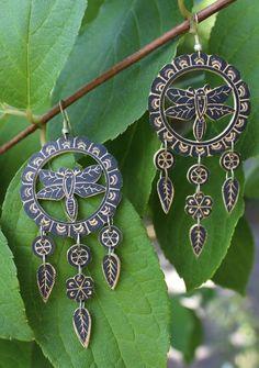 Bold Dragonfly Earrings All Hand Carved Gourd Folk Art Oaxaca Mexico hippie Boho…