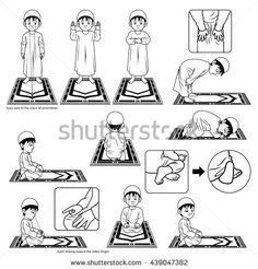 Complete Set of Muslim Prayer Position Guide Step by Step Perform by Boy Outline Version Vector Illustration