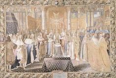 Suite de l'histoire du Roi, « Le sacre de Louis XIV à Reims le 7 juillet 1657 », d'après un dessin de Charles Le Brun, atelier de Jean Mozin, XVIIe siècle