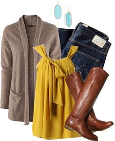 Love this mustard colored blouse... and I actually have these items!     - by trish86 on Polyvore