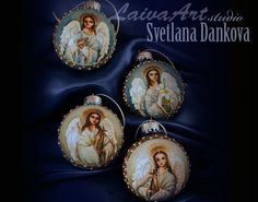 Christmas Ornament / Angel / Christmas / Christmas Bauble / Christmas Bulb / Hand Painted  - pinned by pin4etsy.com