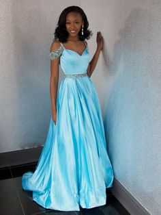 Off Shoulder Blue Beaded A-line Cheap Evening Prom Dresses, Sweet 16 Dresses, M2045