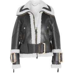 Burberry Leather-trimmed shearling jacket found on Polyvore featuring outerwear, jackets, burberry, zipper jacket, zip jacket, burberry jacket and shearling jacket